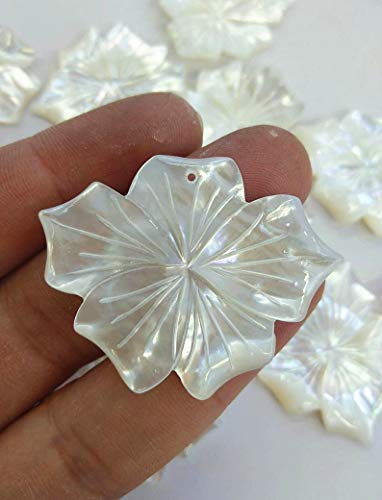 2pcs 60mm Large-Genuine White Shells Bead,Flower fluorial Carved Pendants,Petal Leaf Pendants,top drilled/no drilled ()