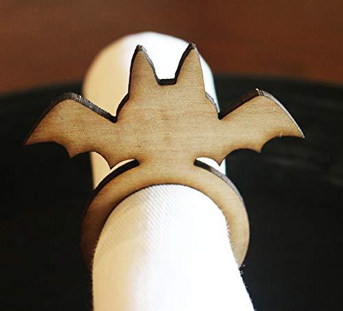 KathShop Bat Wood Napkin Rings, Halloween, Halloween Wedding, Laser Cut Set