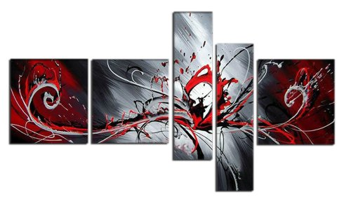 Design Art OL414 5-Panel Textured Abstract Oil Painting, 66 by 33-Inch, Red by Design Art