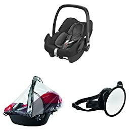 Maxi-Cosi Rock i-Size Baby Car Seat, Nomad Black with Raincover for Baby Car Seat, Transparent and Back Seat Car Mirror