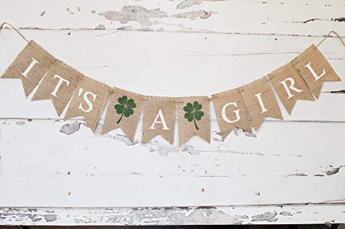 - It's A Girl Clover Banner for St. Patrick's Day Baby Shower or Gender Reveal Decor