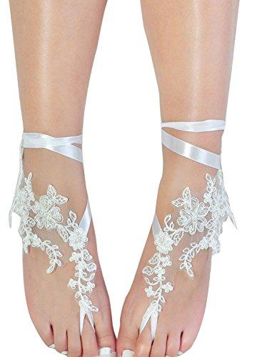 Romantic Lace Barefoot Sandals,Bridal Wedding Shoes,Bridesmaid Barefoot (Bridal Barefoot Sandals)
