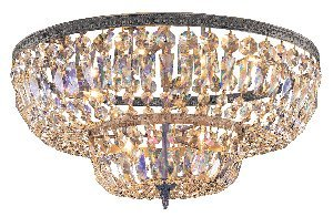 Crystorama 718-EB-CL-MWP 4 Light Clear Hand Cut Ceiling Mount in English Bronze Finish by Crystorama