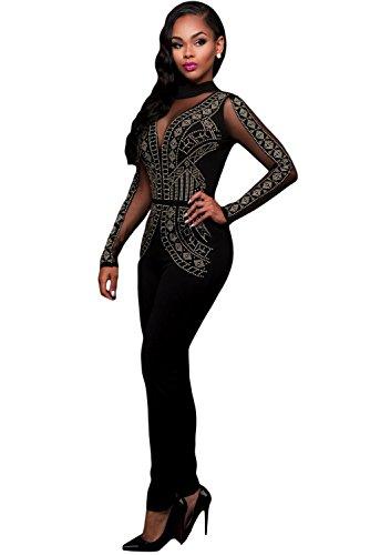 New Frau schwarz & gold Nieten Muster Netzeinsatz Jumpsuit Spielanzug Catsuit Club Wear Party Wear Größe S UK 8�?0EU 36�?8