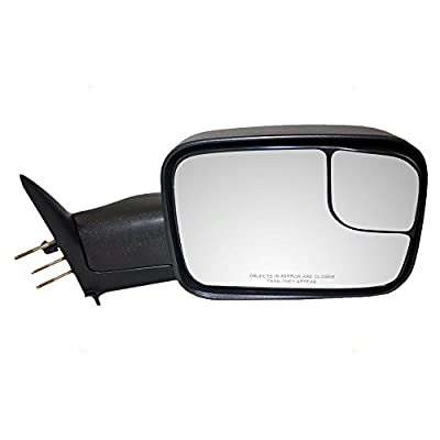 Passengers Manual Trailer Tow Side Flip-Up 7x10 Mirror Textured Replacement for Dodge Pickup Truck 55156334AD