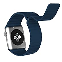 Apple Watch Band, JETech 38mm Genuine Leather Loop with Magnet Lock Strap Replacement Band for Apple Watch 38mm All Models No Buckle Needed (Blue)