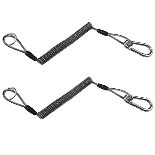 2 X Boating Kayak Camping Fishing Pliers Lanyard Coiled Tether Retractable Steel Coil Lanyard Flexible Lanyard Fishing Tool Tether Coil Lanyard