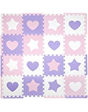 Tadpoles 16 Sq Ft Hearts and Stars Playmat Set, Pink/Purple/White