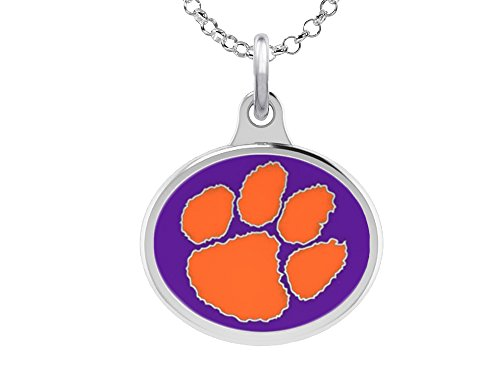 Clemson University Tigers Charm Pendant. Solid Sterling Silver with ()
