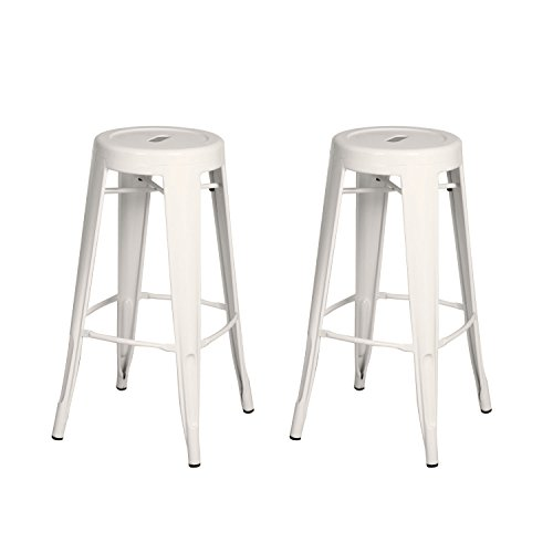 Homebeez White Metal Barstools 30 inches, Homebeez Tolix Industrial Round Counter Bar Stools Chair with circle seat,30 inches ,set of 2 (White)