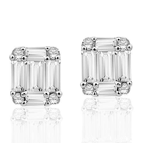 Halo Jewels 10K White Gold, 0.28 Carat Natural White Diamond Earring for Women
