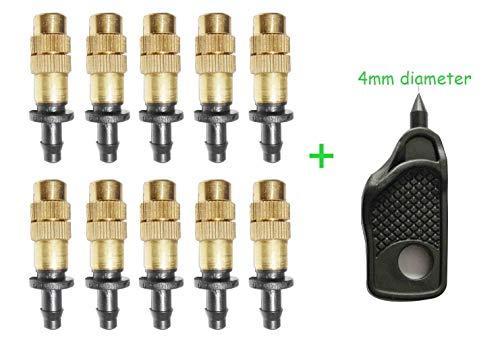 Geelyda 10 Pcs Adjustable Irrigation Sprinklers, Copper Spray Nozzle Watering Drippers Sprinklers Emitter Drip System On 1/4