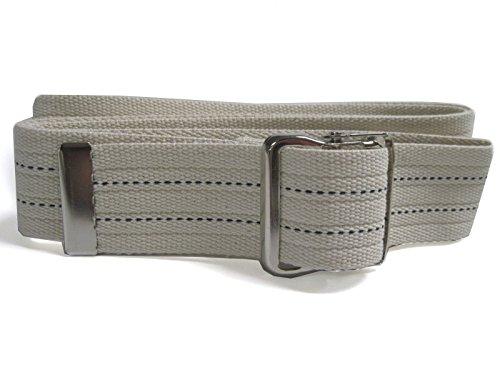 JDM Medical Cotton Gait Belt with Metal Buckle, Natural w/ Blue Stripes (72