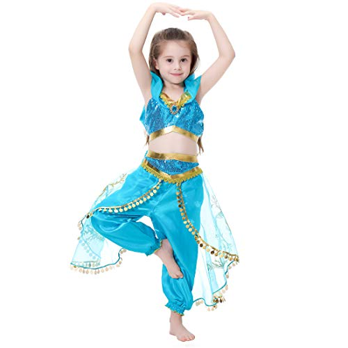 Girls Dresses Dance Costume Party Fancy Clothes Carnival Outfit (M 121-130cm) Blue