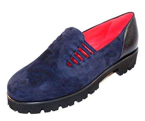 Pas De Rouge Womens Marta 1312 In Navy Blue Suede/Foulard Leather - Size 38 M GF6c4z