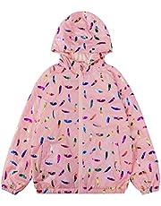 Hiheart Girls Metallic Colorful Print Jacket Hooded Lightweight Windbreaker