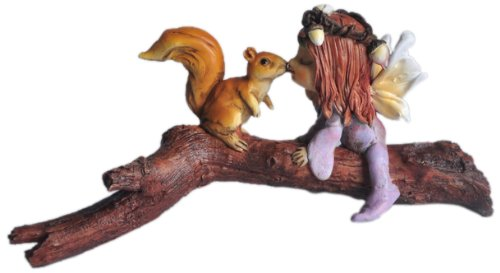 Top Collection Enchanted Story Fairy Garden Little Fairy Kissing Squirrel on Branch Outdoor (Little Fairies)