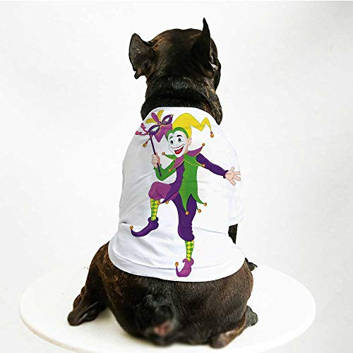 - YOLIYANA Mardi Gras Warm Pet Suit,Cartoon Style Jester in Iconic Costume with Mask Happy Dancing Party Figure for Pet Dogs,M