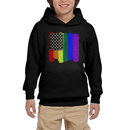 Youth Black Hoodie Gay Pride American Flag Hoody Pullover Sweatshirt Pocket Pullover For Girls Boys S by Hapli