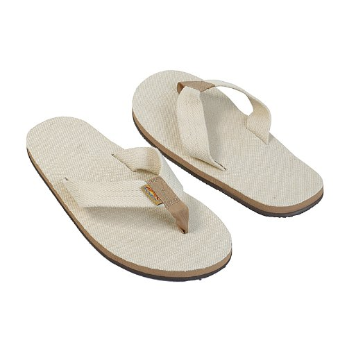 Rainbow Sandals Men's Hemp Single Layer Wide Strap with Arch, Natural, Men's Large / 9.5-10.5 D(M) US ()