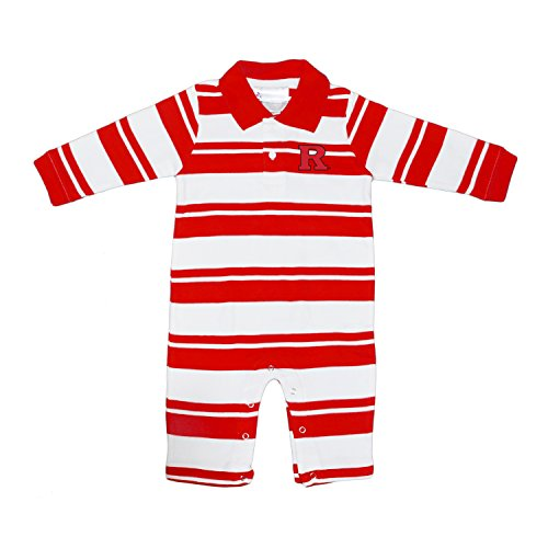 fan products of Rutgers Scarlet Knights NCAA College Infant Baby Rugby Striped Leg Romper (12 Months)