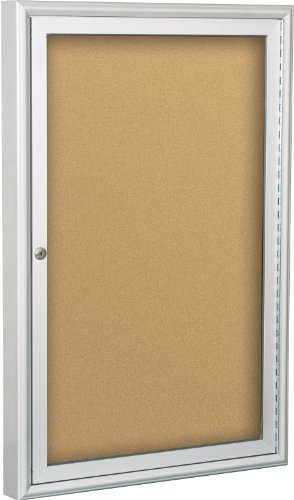 BestRite 2 x 1.5 Feet Outdoor Enclosed Bulletin Board Cabinet, Natural Cork (94PSA-O-01)