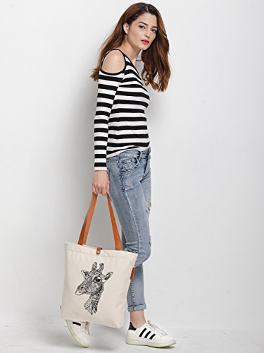 IN.RHAN Women's Deer Graphic Canvas Tote Bag Casual Shoulder Bag Handbag