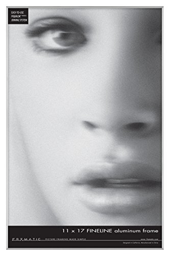 Framatic Fineline 11x17 Inch Aluminum Frame, Silver (302145) (Frame Corner Silver)