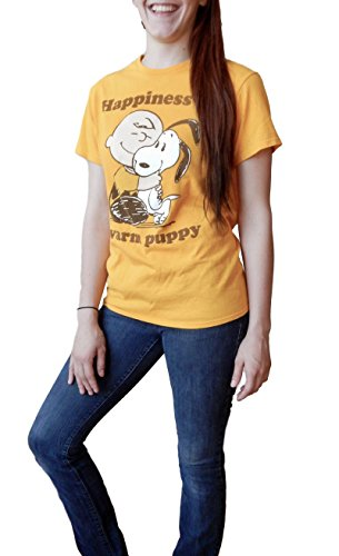 (Peanuts Charlie Brown Snoopy Happiness is a Warm Puppy Adult Gold T-Shirt XL)