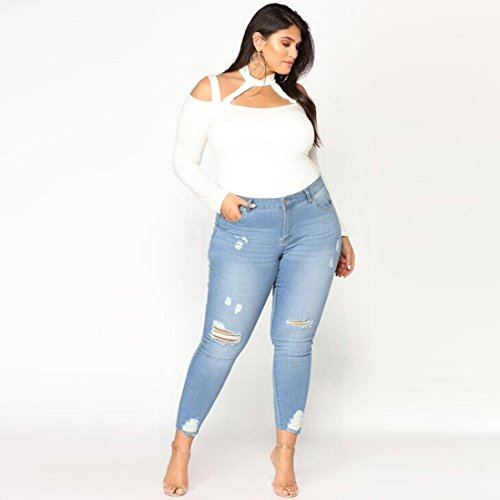 Haute Denim Conqueror Size Pants Stretch Bleu Plus Ripped Slim Skinny Jeans Femmes Pantalons Taille K1JFl3Tc