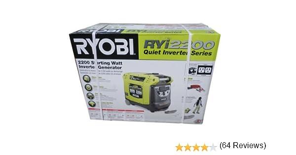 Amazon.com: Ryobi 2200-Watt Digital Inverter Generator RYI2200 ...
