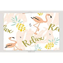 Supersoft Fleece Throw Blanket Blush Pink Flamingo Pineapples And Message Relax On A White Background With Pastel Strokes Vector 387782320