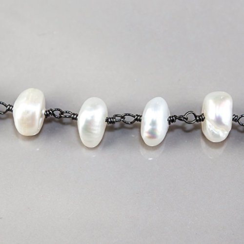 (8x6mm White center drilled Keshi Pearl Black Gold plated Chain by the foot 31pc)