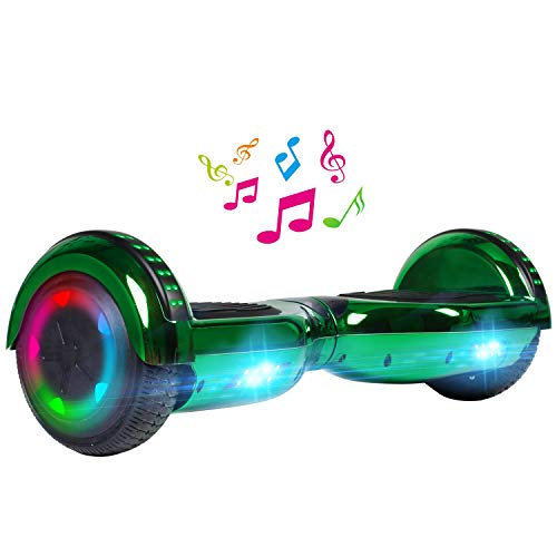 UNI-SUN Chrome Hoverboard for Kids, 6.5' Two Wheel Electric Scooter, Self Balancing Hoverboard with Bluetooth and LED Lights for Adults, UL 2272 Certified Hover Board,Bluetooth Green