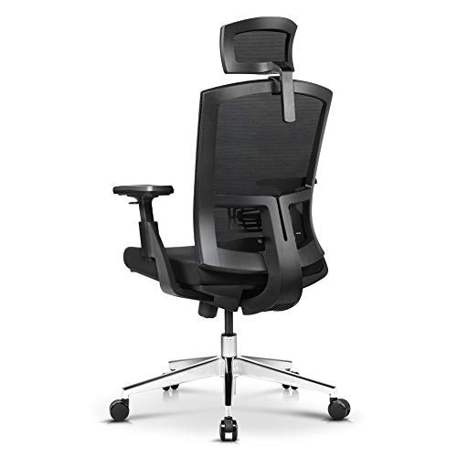 Office Chair, Ergonomic High Back Mesh Chair with Adjustable Arm Rests Computer Chair Height Adjustable and Head Support 3 Adjustable Tilt Tension Swivel Desk Chair, Black