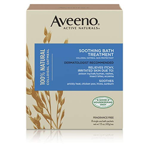 Aveeno Soothing Bath Treatment with 100% Natural Colloidal Oatmeal for Treatment & Relief of Dry, Itchy, Irritated Skin Due to Poison Ivy, Eczema, Sunburn, Rash, Insect Bites & Hives, 8 ct.