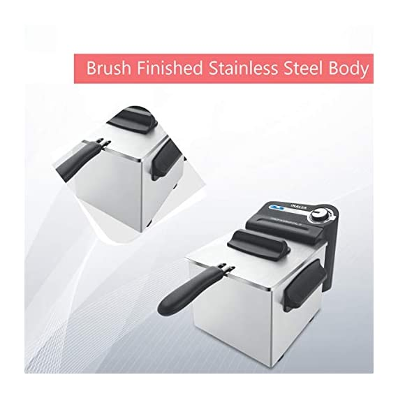 Inalsa Professional 2 Fryer, 18/8 Steel, 2 Liter, Digital Timer, 1700 W, Detachable, Dishwasher Safe, European Energy Efficiency Standard, Stainless Steel, (Grey) 6
