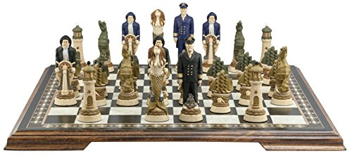 Nautical Chess Set - Handmade and Hand Painted - 5.25 Inches -