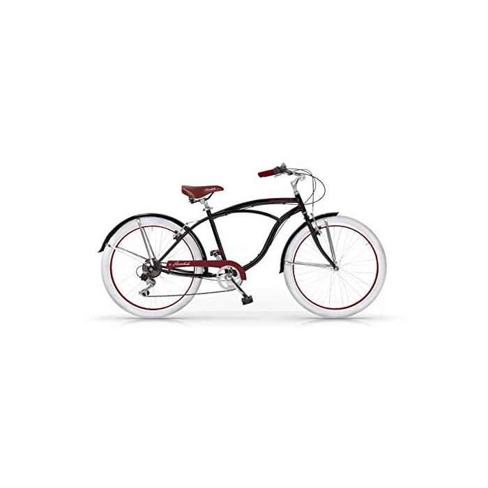 MBM Honolulu – Bicicleta de Paseo para Hombre de 6 velocidades, Cuadro de Acero Talla 47, Frenos V-Brake, Horquilla Acero y Ruedas de 26″, Color Negro