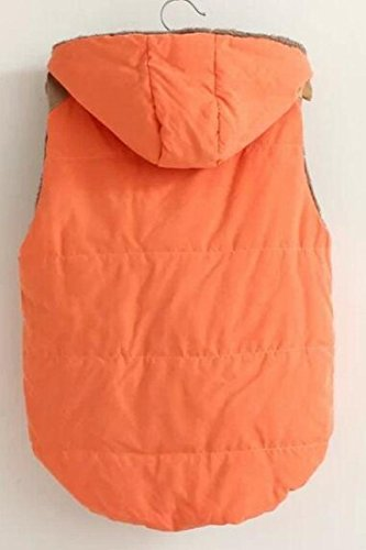 Padded Womens Vest Coat Quilted Hooded MK988 Jacket Sleeveless Vest Casual Orange UHqdanYw