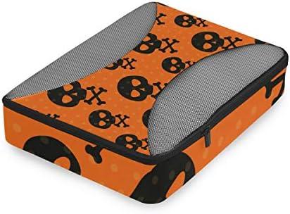 ハロウィンブラックスカルズ荷物パッキングキューブオーガナイザートイレタリーランドリーストレージバッグポーチパックキューブ4さまざまなサイズセットトラベルキッズレディース