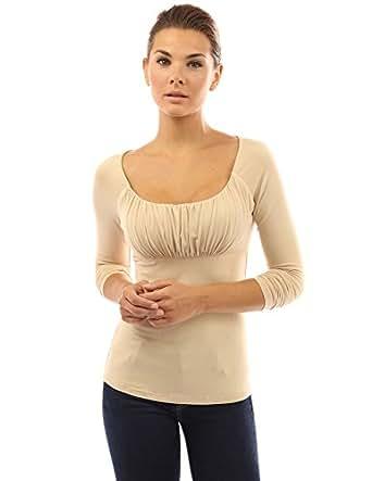 PattyBoutik Women's Scoop Neck Ruched Raglan Long Sleeve Top (Beige S)