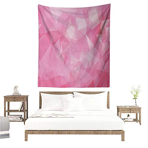 Willsd Pale Pink Living Room Tapestry Abstract Mosaic Style Geometric Dimension Fractal Polygonal Illustration Tapestry for Home Decor 60W x 91L INCH Magenta Fuchsia