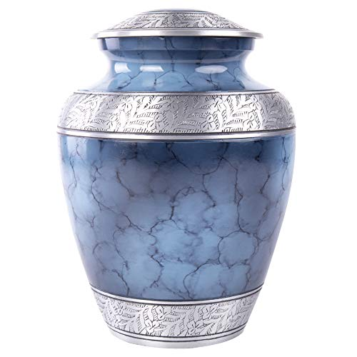 GSM Brands Cremation Urn Holds Adult Human Ashes - Large Handcrafted Funeral Memorial with Striking Blue Design (Aluminum - 10 Inch Height x 8 Inch - Urn Design