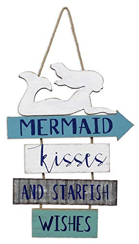 (youngs Inc Wood Mermaid Kisses Wall Sign, Multi )