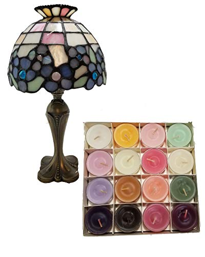 ShoppeShare Spring Décor Hydrangea Tiffany-Style Tealight Lamp Decoration and Candles Bundle - Retired PartyLite ()