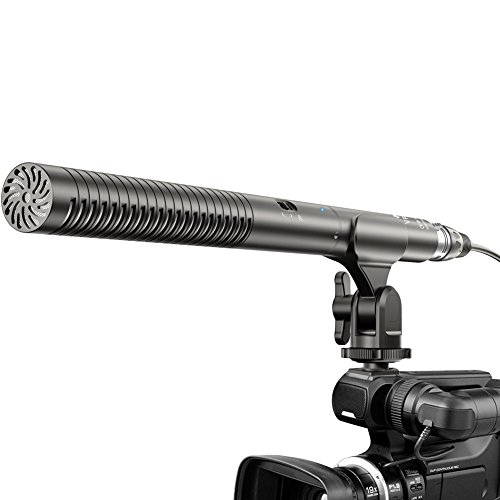 Comica CVM-VP2 Super-Cardioid Condenser Shotgun Microphone, Dual Powered External XLR Camera Microphone for Nikon Sony Panasonic Canon Cameras/Camcorders(11 inches)