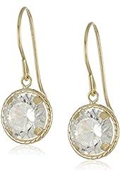 14k Yellow Gold Martini Set Cubic Zirconia White Dangle Earrings