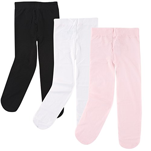 Luvable Friends Baby Girls' Nylon Tights, 3 Pack, Pink/White/Black, 9-18 Months ()