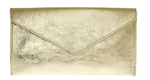 Rebecca Clutch Envelope Italian Party Suede Shaped Genuine bag Large handbag Metalic Purse Brand Clutch Verapelle Prom Clutch Gold B4SwqWPnUX